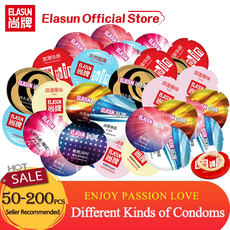 Elasun Condoms Penis Sleeve Different Kinds of Condoms For Men Large Spikes Dotted Fruit Thin Smooth Lubricated Condom <font><b>Bulk</b></font> Sale image
