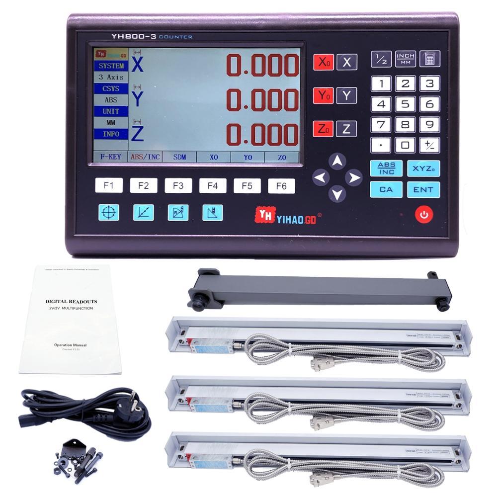 Полный набор 3-осевой ЖК цифровой индикатор DRO с 3 шт. 0-1000 мм стеклянные линейные весы датчик кодировщика для фрезерного токарного станка