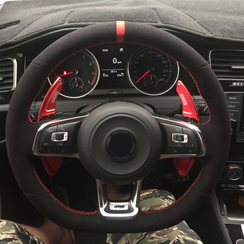 WCaRFun Black Suede Car Steering Wheel Cover for Volkswagen VW Golf 7 GTI Golf R MK7 VW Polo GTI Scirocco 2015 2016 brand new 1 pcs left led dark red tail lamp suitable for vw volkswagen golf gti r mk7 2013 2016 5g0 945 207 5g0945207 oem