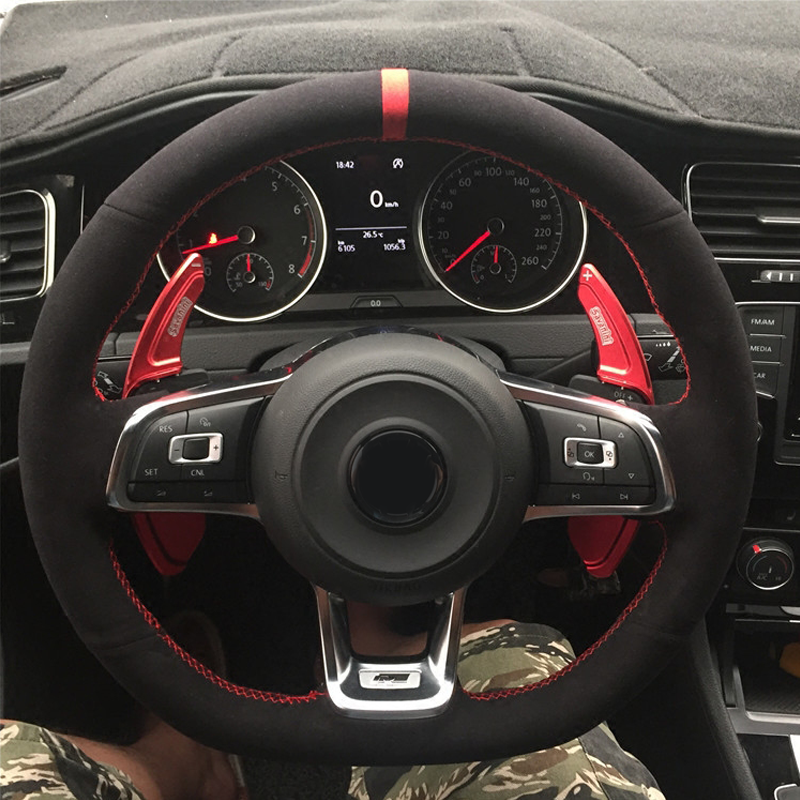 WCaRFun Black Suede Car Steering Wheel Cover for Volkswagen <font><b>VW</b></font> <font><b>Golf</b></font> <font><b>7</b></font> <font><b>GTI</b></font> <font><b>Golf</b></font> R MK7 <font><b>VW</b></font> Polo <font><b>GTI</b></font> Scirocco 2015 2016 image