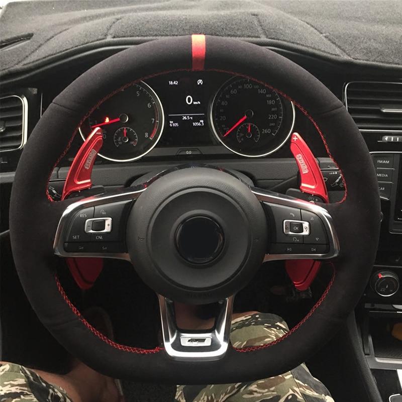 WCaRFun черный замшевый чехол рулевого колеса автомобиля для Volkswagen VW Golf 7 GTI Golf R MK7 VW Polo GTI Scirocco 2015 2016 Чехлы на руль      АлиЭкспресс