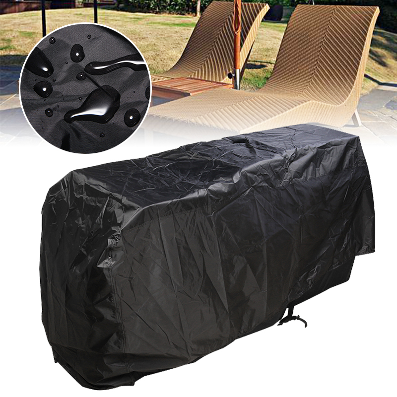 Oxford Fabric Waterproof Cover Black Heavy Duty Chair Protector Outdoor Garden Sun Lounger Sunbed Dust Covers