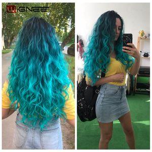 Image 2 - Wignee Extensions de cheveux synthétiques longues ondulées avec Closure, tissage résistant à la chaleur, de couleur violette/grise, pour femmes