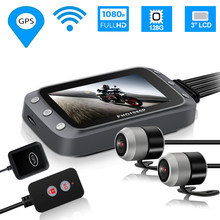 "GPS WIFI 128G FHD 1080P Moto Camera 3"" Motorcycle DVR Front Rear Dual Camera Driving Video Recorder Dash Cam MotorBike HD 1080(China)"