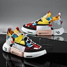 Moda outono colorido tênis de luxo masculino tendências sapatos casuais venda quente respirável sapatos grossos masculinos zapatillas hombre