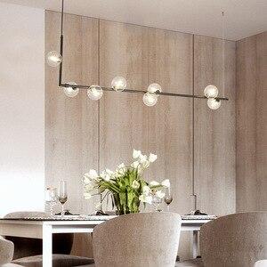 Image 4 - 북유럽 미니멀리스트 디자인 유리 공 샹들리에 크리 에이 티브 아트 분자 홀 거실 레스토랑 서스펜션 전등
