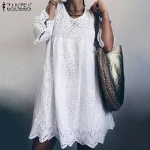Элегантное кружевное платье для женщин, летний сарафан, ZANZEA, расклешенный рукав, длина до колена, Vestidos, женское богемное Хлопковое платье, 5XL