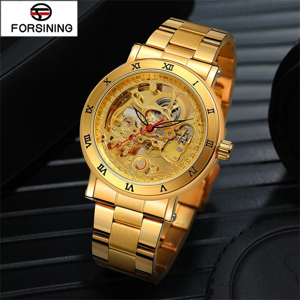 Watch Men Forsining automatic mechanical watch high-grade waterproof steel with double through the hollow  horloges mannen 10X