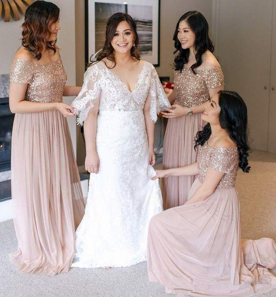 Blush Sequined   Bridesmaid     Dresses   Off Shoulder Sweep Train Country Plus Size Wedding Guest Party Maid Of Honor Gowns