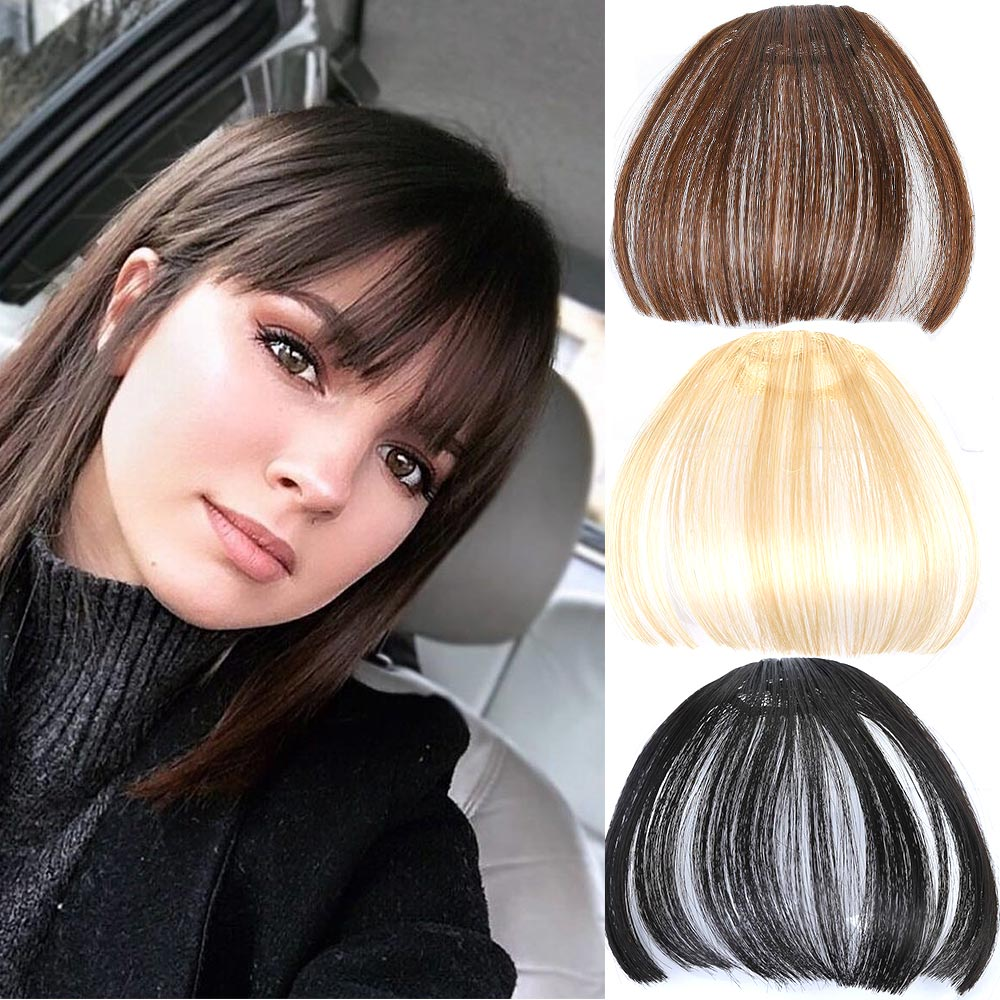 AIYEE Front False Fringe Thin Blunt Clip In Bangs Piece Clip On  Hair High Temperature Fiber Synthetic Hair