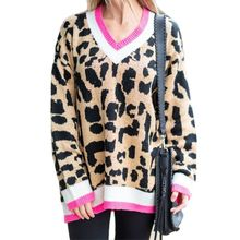 2019 Autumn Women Loose Leopard Print Stiching Sweater Knitted Pullover Knit Oversized Jumpers for Females