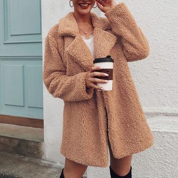 2020 Faux Fur Coat Fleece Sweatshirts Cardigan Female Autumn Winter Coat Women Overcoat Plush Jacket Mujer Chaqueta Mujer