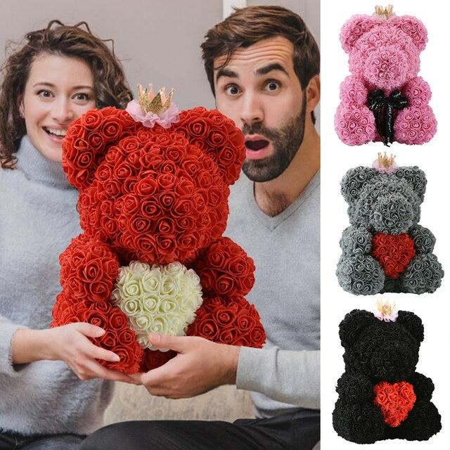 2020 저렴 한 빨간 곰 로즈 테 디 베어 장미 꽃 인공 장식 생일 크리스마스 선물 여자 발렌타인 선물