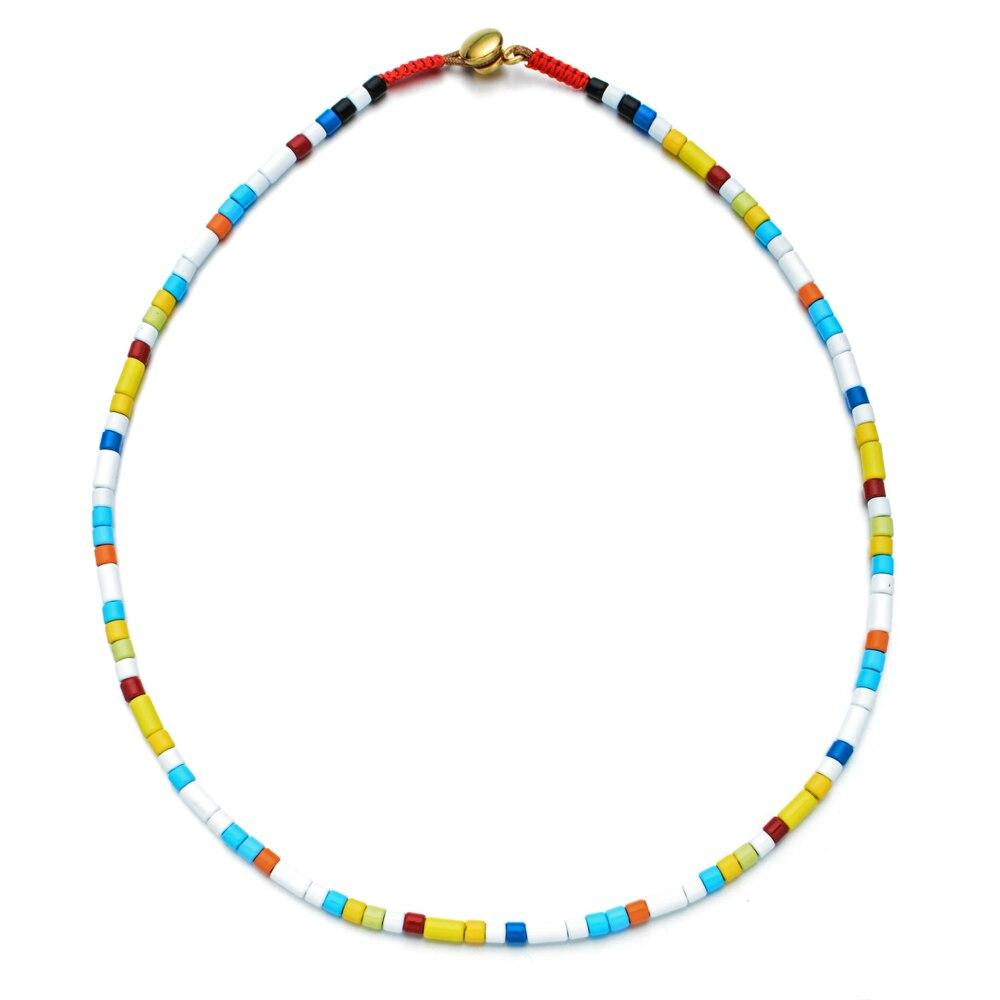 ZMZY nouveau Design barre Collier Tila perles Collier ras du cou femmes à la mode Chic à la main mode Boho Femme bijoux