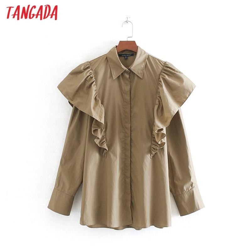 Tangada femmes oversize à volants coton blouse col rabattu manches longues chic à volants chemise blusas femininas CE162