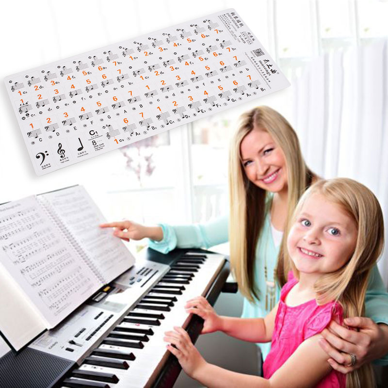Piano Keyboard Music Note Stickers Label For 61Keys 88Keys  Piano Stave Note Sticker For White Keys Biginners Kids Learning Tool