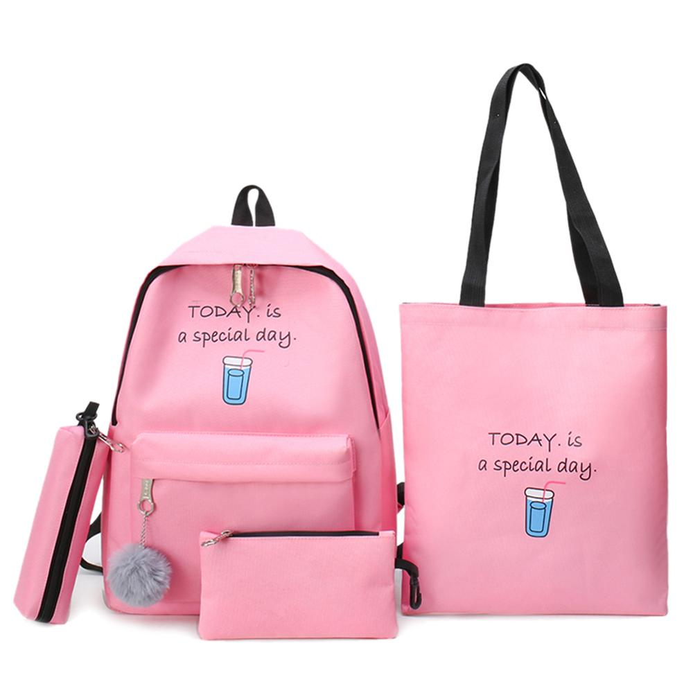 Women Bags 4pcs/Set Female Fashion Casual Canvas Travel Backpacks Teenagers Girls Leisure Large Shoulder School Book Bags