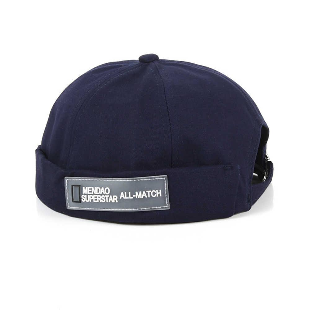 Fransız Brimless Unisex şapka erkekler moda Retro kafatası kap Docker denizci şapkası Biker bere Retro ayarlanabilir güneş şapkaları Vintage Harajuku
