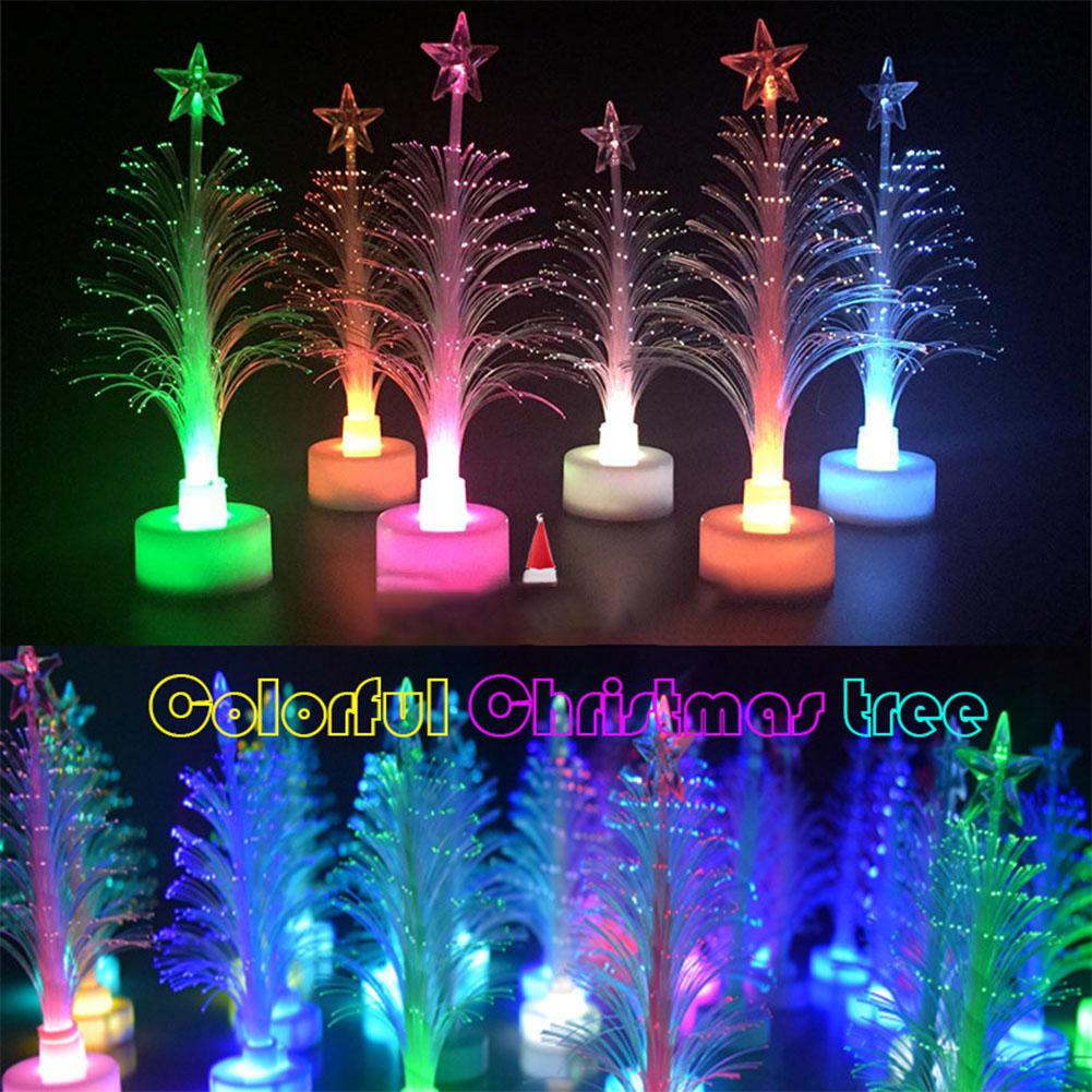 New Year 2020 New Christmas Light LED Colorful Fiber Christmas Tree Shaped Lamp Night Light For Home Desk Decor Gift Party Decor
