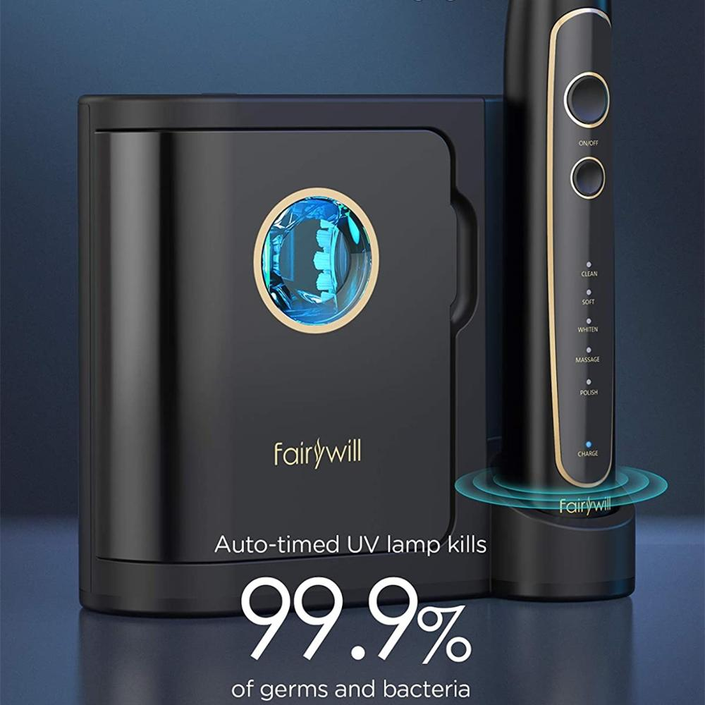 Fairywill Electric Toothbrush Ultra-Sonic Power Whitening Toothbrush with 5 Modes Wireless Charging Smart Timer 8 Brush Heads
