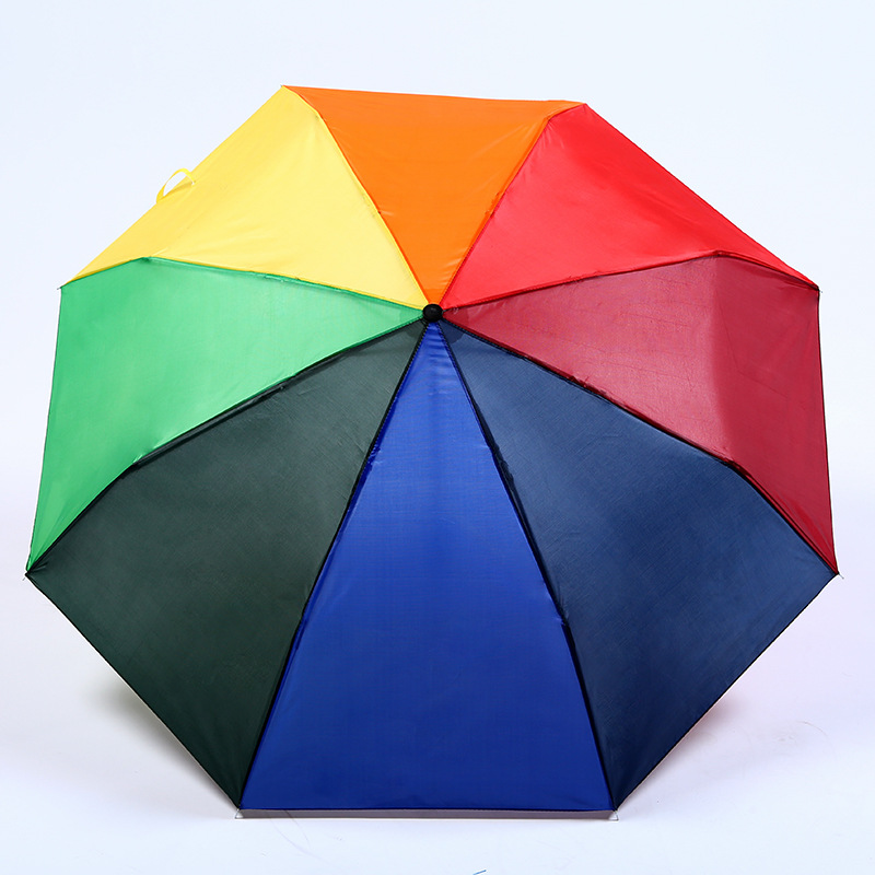 Foreign Trade Hot Selling Creative Rainbow Umbrella Outdoor Umbrella Sun-resistant Folding Umbrella Manufacturers 8 Bone Adverti