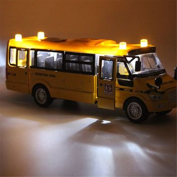 School Bus Toy Die Cast Vehicles Yellow Large Alloy Pull Back 9'' Play Bus with Sounds and Lights for Kids double decker bus london bus design car toys sightseeing bus vehicles urban transport vehicles commuter vehicles