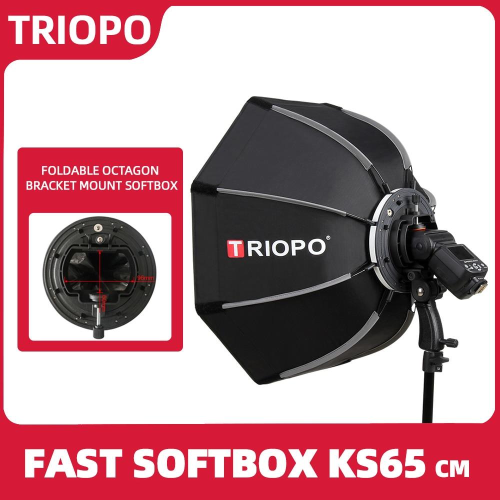 TRIOPO 65cm Foldable Softbox Octagon Soft box w Handle for Godox Yongnuo Speedlite Flash Light photography studio accessories