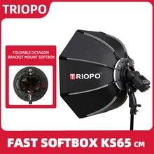 TRIOPO caja difusora plegable de 65cm, octágono, con mango para Godox Yongnuo Speedlite, accesorios de fotografía con Flash para estudio