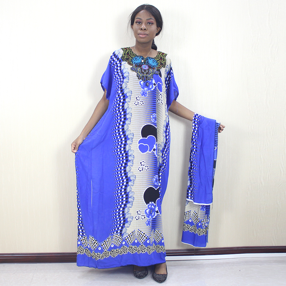 Dashikiage 2019 African Dashiki Ankara Heart-Shaped Printed Flower Appliques Blue 100% Cotton Women Dress