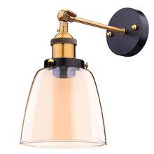 Ático lámpara de pared retro oval transparente diseño de cristal lámpara de pared vintage industrial hogar Luz de pared base de metal
