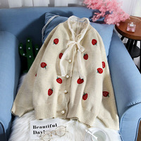 strawberry knitted women sweater v-neck long-sleeve looses thicken warm sweet cardigan winter new lady elegant outwear coat tops