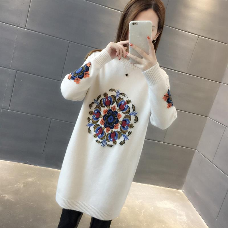 Long Sweater Women Knitted Embroidered Vintage Sweater Pullover Knitwear Ladies Casual Long Sleeve