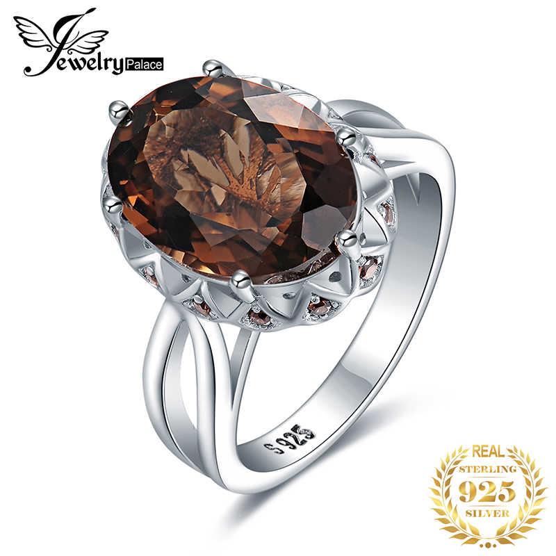 JewelryPalace 5.7ct forma Oval creado de cuarzo ahumado anillo cóctel anillo de Plata de Ley 925 de té de flor de cristal anillo de boda