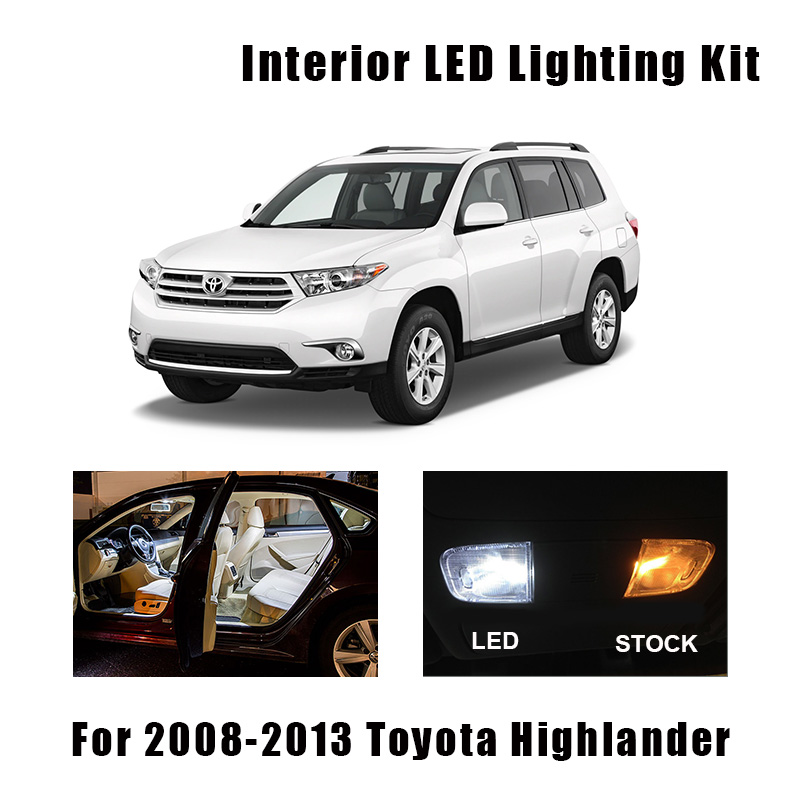 12 Bulbs White LED Interior Light Kit Fit For <font><b>Toyota</b></font> <font><b>Highlander</b></font> 2008 2009 <font><b>2010</b></font> 2011 2012 <font><b>2013</b></font> Map Dome License Lamp Error Free image