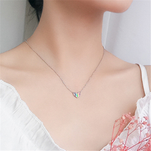 Silver Cute Tiny Heart Pendant Necklaces 925 Colorful Glaze Necklace For Girls Lady Women Fashion Jewelry