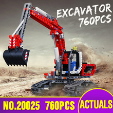 From Spain DHL 20025 Technic Car Series 8294 Red Excavator Children compatible lepining Building Blocks Bricks Kids Toys Model