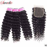 Extensiones de cabello humano Sweetie brasileño de ondas profundas con cierre de 3 mechones con cierre 4 Uds. Extensiones de cabello sin Remy