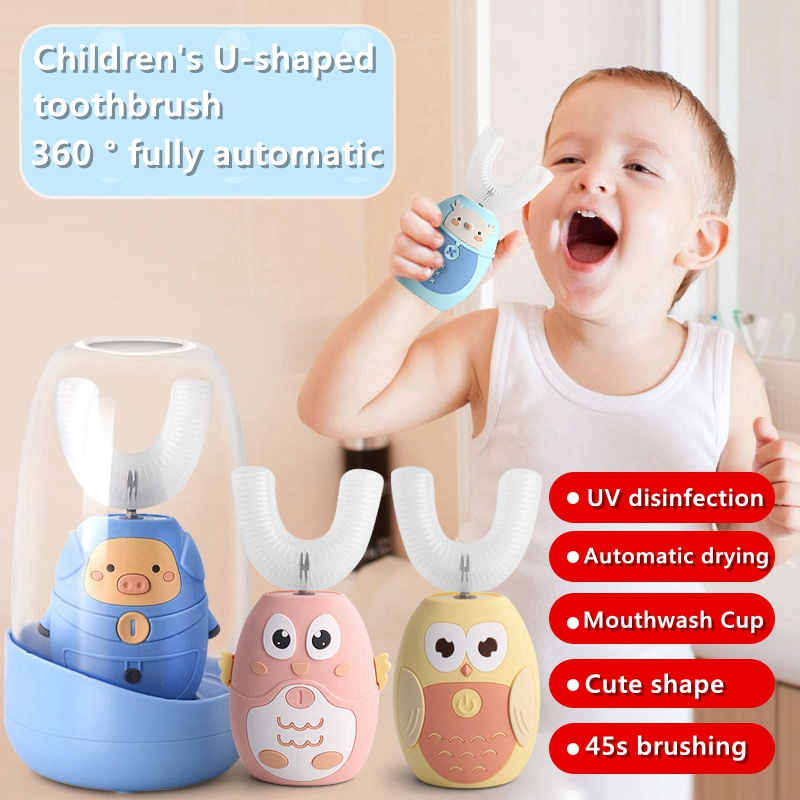 Children 360 Degrees Sonic Automatic Electric Toothbrush Rechargeable U Type soft silicone Toothbrush For kids best gift