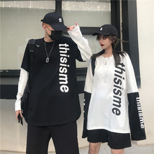 Letter Print Soft Fake two Patchwork Autumn Men T shirt Long Sleeve Korean Style Couple Clothes White oversized rock streetwear crude fine striped print oversized autumn men t shirt patchwork long sleeve plus size tee korean style minimalist clothes 2019