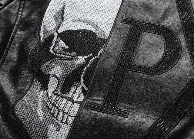 2021 Skull Rhinestones PU Jackets Men Black High Street Stand-Neck Zipper Rib Sleeve Streetwear Motorcycle Faux Leather Coats 4