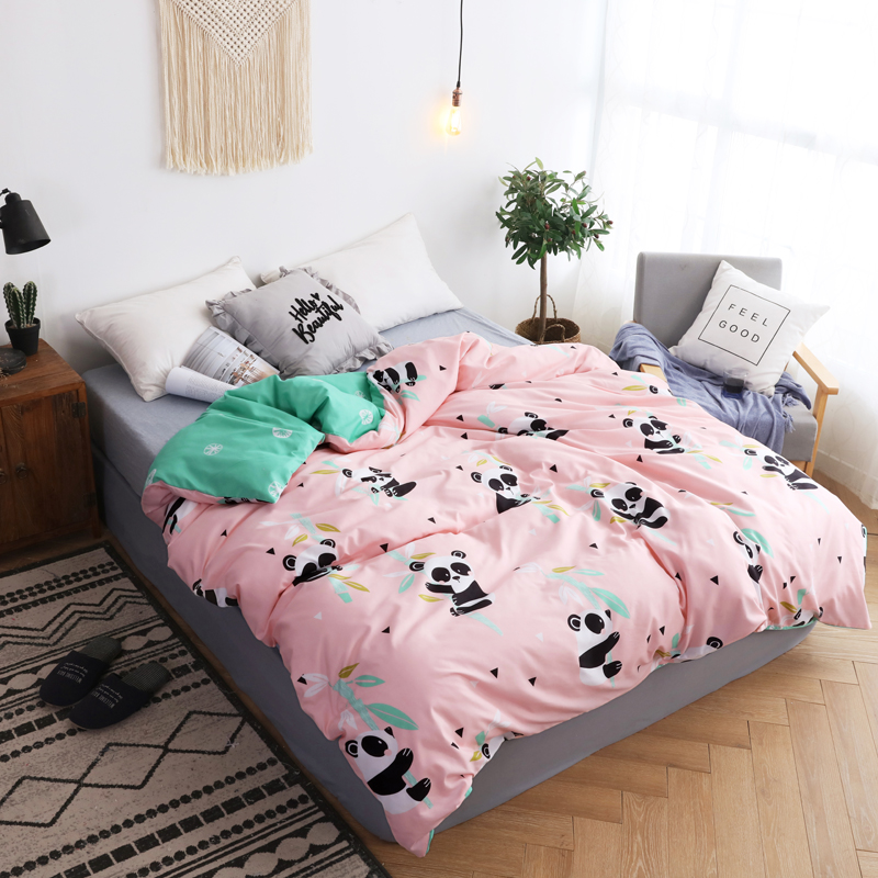 Kids Pink Panda Bamboo Printed Duvet Cover Cartoon Soft Cotton Quilt Cover Comforter Case Twin Full Queen King Size Bedspreads