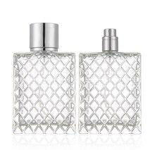 spray 100 ml Square flat bottle lattice shape glass bottle spray bottle perfume bottle sub-bottling large bottle empty