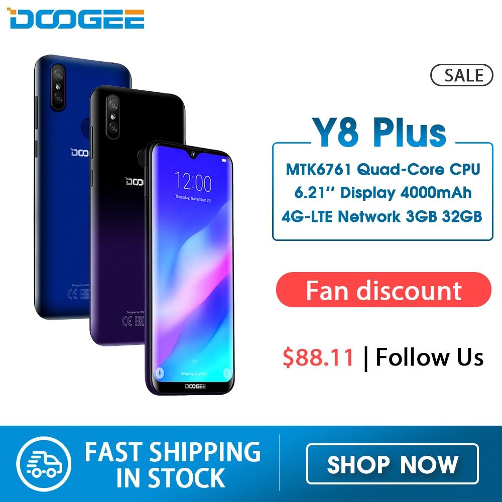 DOOGEE Y8 Plus Android 9.0 FDD LTE 6.21inch 19:9 Waterdrop Screen Smartphone MTK6761 3GB RAM 32GB ROM 4000mAh Dual SIM 13.0MP