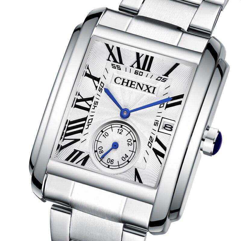 CHENXI Watches Men 2021 Stainless Steel Square Waterproof Business Watch For Men Date Quartz Clock Fashion Men's Watch Reloj