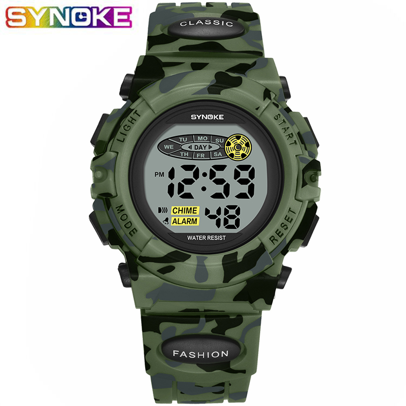 SYNOKE Sports Military Kids Digital Watches Student Children's Watch Fashion Luminous Led Alarm Camouflage Green Boy Clock