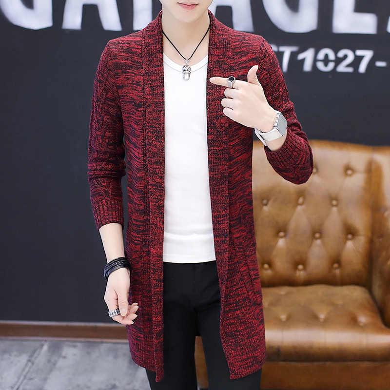Suéter de punto para hombre cárdigan de punto X-Largo abrigo de punto para hombre suéteres de otoño para hombre cárdigan de estilo largo sólido color sweatercoat