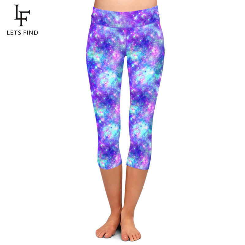 LETSFIND Sexy Women Galaxy Design Print Fitness Capri Leggings High Waist Plus Size Comfortable Mid-Calf Stretch Leggings