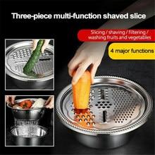 Ralador de aço inoxidável bacia slicer seguro multifuncional chopper dreno sólido bacia com filtro/ralador/tigela ferramenta frutas vegetais