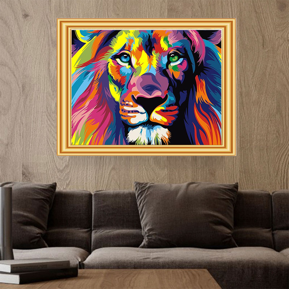DIY 5D Diamond Painting Colorful Animal Set Lion Cat Cross stitch Kit Mosaic Art Picture of Rhinestones Diamond Embroidery Decor 2