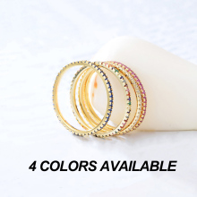Colourful Zircon Paved Sterling Silver Women Ring Jewelry
